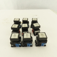 Power Source AR22F0M 600V 10A White Illuminated Push Button Switch Lot Of 9