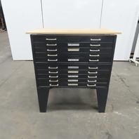 "10 Drawer Steel Blueprint Plans Map Art Architect Flat Filing Cabinet 32x43x50"""