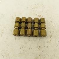 9/64 OD Tube Brass Flare Seat Lubrication Line Fitting Union Splice Lot Of 5