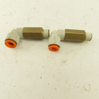 """SMC 1/4"""" NPT Brass Extended 3/8 Tube Push To Connect Elbow Lot Of 2"""