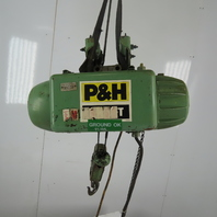 P&H 1/4 Ton Wire Rope Electric Hoist 15' Lift 28 FPM 208-230/460V 3Ph W/Trolley