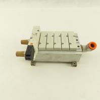 SMC VQZ2150-5L Pneumatic 2 Way Valve On 6 Position Manifold 24VDC