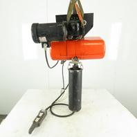 CM Lodestar RR 2 Ton Electric Chain Hoist 10' Lift 16FPM 3Ph W/Power Trolley