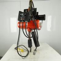 CM Lodestar RRT 3 Ton Electric Chain Hoist 10' Lift 11FPM 3Ph W/Power Trolley