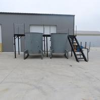 2 Carbon Steel Liquid Mix Mixing Tanks 600 Gallon Each W/Mezzanine 230/460 3Ph