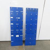"Stationary Square Pegboard Metal Panels 58-1/2""x18""x1/2"" W/Hooks Lot of 2"