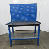 """48"""" x 22"""" x 34"""" Tall Work Bench Assembly Station Steel Peg Tool Storage Table"""