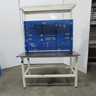 "61"" x 28"" x 35"" Tall Steel Top Work Bench Assembly Steel Peg Tool Storage Light"