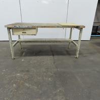 """72"""" x 35"""" x 34"""" Tall Wood Block Top Work Assembly Bench W/ Drawer"""