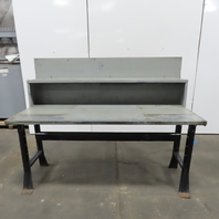 """30"""" x 72"""" x 34"""" Tall Vintage Steel Top Work Assembly Drafting Bench Table Shelf"""