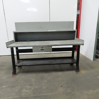 """30"""" x 72"""" x 34"""" Tall Vintage Work Assembly Bench W/ Shelf And Drawer"""