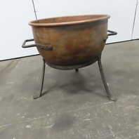 """Savage Bros. 24"""" Antique Confectionery Copper Kettle Stand Forged Rivet Handles"""
