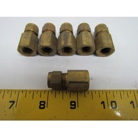 "Imperial 90096 66x6 3/8x1/4"" Female Connector Brass Compression Fitting Lot of 6"