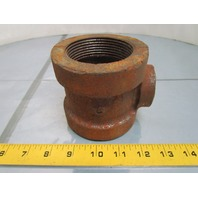 "Grinnell 2-1/2X2-1/2X1""NPT Black Cast Iron Reducing Pipe Tee Class 125"