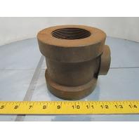 "Ward 3x2-1/2x1-1/4"" NPT Cast Iron Black Pipe Reducing Tee Class 125 USA"