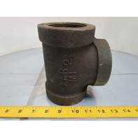 "Grinnell 2-1/2"" NPT Malleable Iron Black Pipe Tee Class 300 Extra Heavy"