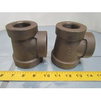 "Ward 2x1-1/4x1-1/2"" NPT Cast Iron Black Pipe Reducing Tee USA Class 125 Lot of 2"