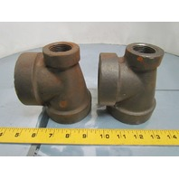 "Ward 2x1x1-1/2"" NPT Cast Iron Black Pipe Reducing Tee USA Class 125 Lot of 2"