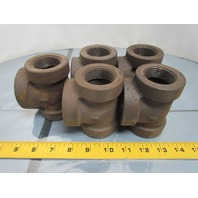 "1-1/4x1-1/4x1-1/2"" NPT Cast Iron Black Pipe Reducing tee Class 125 USA Lot of 5"