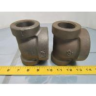 "1-1/4x1-1/4x2"" NPT Cast Iron Black Pipe Reducing tee Class 125 USA"