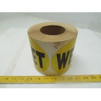 Self Adhesive Label Sticker Wet Sign Roll of 500 5inch diameter Yellow Black