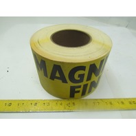 "Magnesium Fines Label Sticker Sign 4""X12"" Black on Yellow Adhesive Roll of 250"