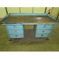 "Vintage Steel Reloading Bench Industrial Workbench w/72x36"" Butcher Block Top"