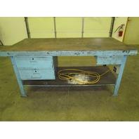 "Vintage Industrial Steel Worktable 72x36"" Butcher Block 3 Drawer Workbench"
