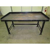 "Vintage Industrial Steel Workbench w/ 36x72"" Butcher Block Dated 1945 34"" High"