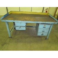 "Vintage Industrial Steel Workbench 36x72"" Butcher Block 2 1/2"" Thick 5 Drawers"
