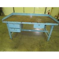 "Vintage Industrial Workbench 72x36"" Butcher Block 2 1/2"" Thick Date 1945 3Drawer"