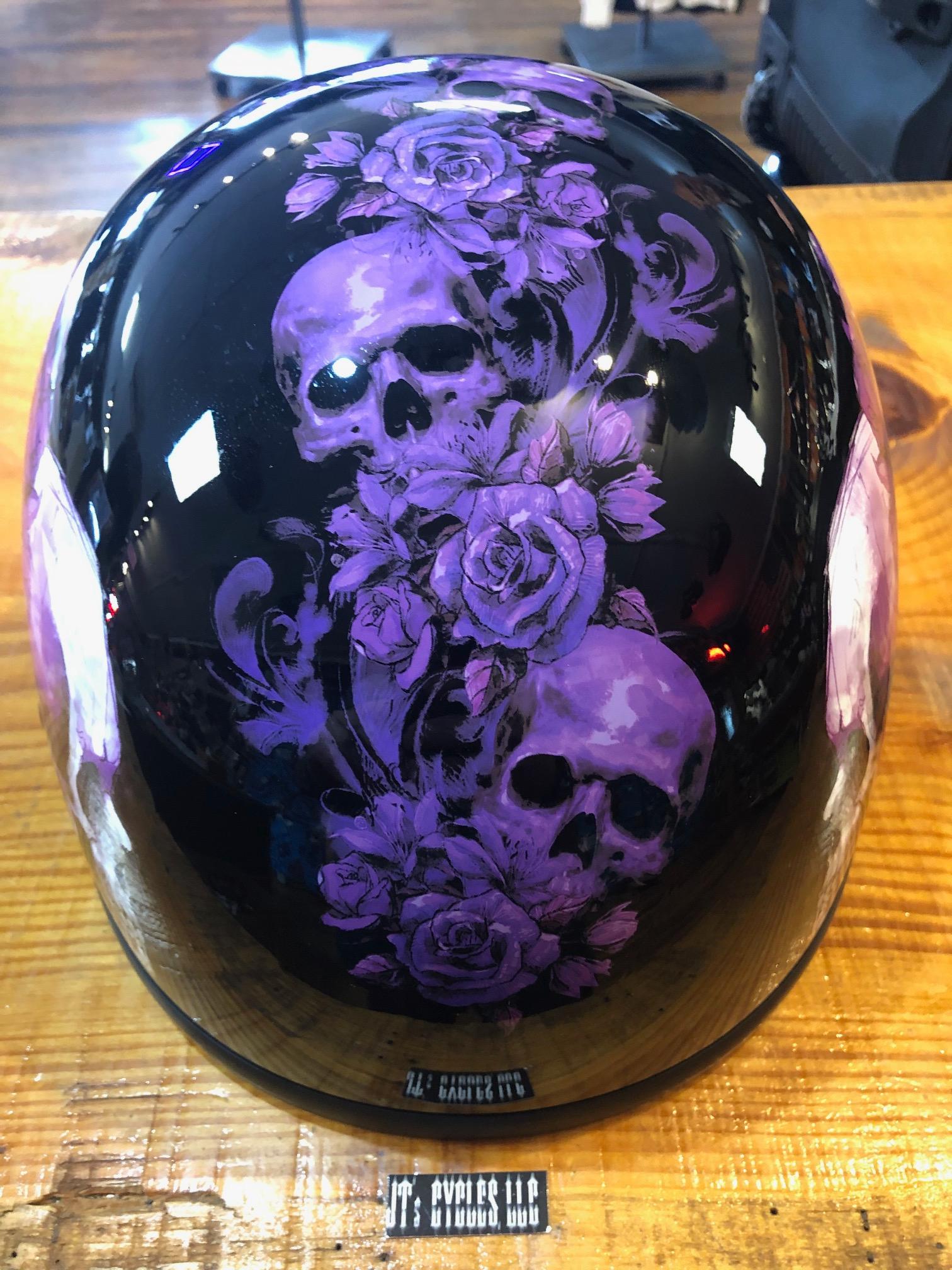 Z1r Black Purple Skull Nightshade Cc Beanie Motorcycle