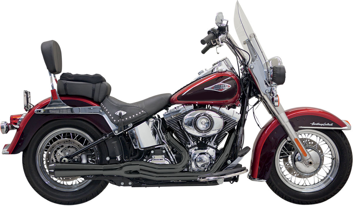 Bassani Black Road Rage Mega Power Short 2-1 Exhaust for 00-17 Harley  Softail