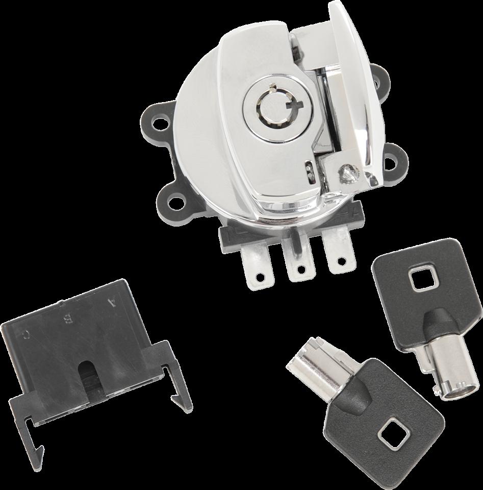 Drag Specialties Chrome Ignition Switch & Keys 03-13 Harley DYNA Softail FLSTF