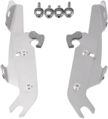 Memphis Shades Polished Trigger Lock Mounting Brackets 87-17 Harley Softail FLST