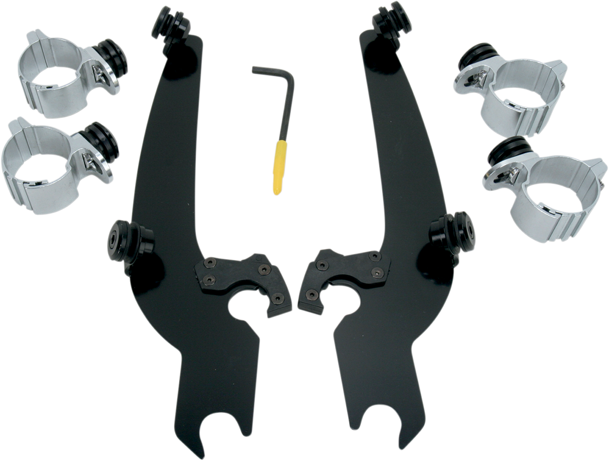Memphis Shades Black Trigger Lock Windshield Mount Kit 73-19 Harley Dyna XL FXR
