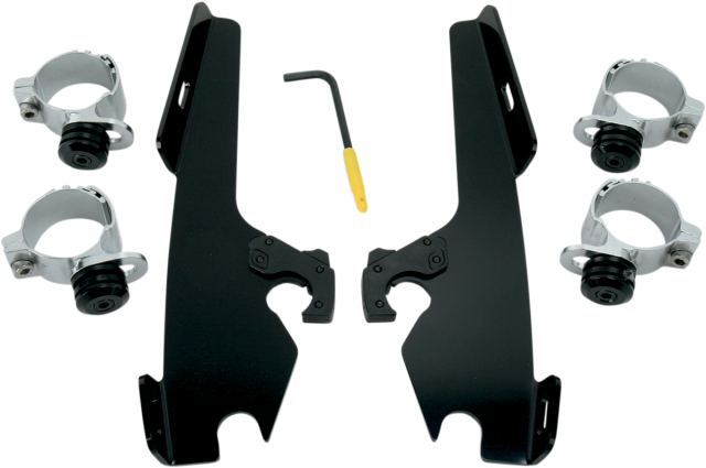 Memphis Shades Black Trigger Lock Fairing Mount Kit 80-13 Harley Softail DYNA