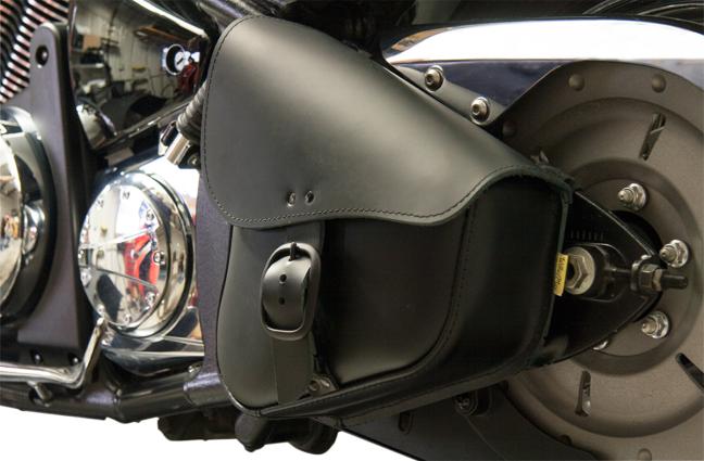 Willie & Max Black Leather Left Side Swing Arm Saddlebag 86-17 Harley Softail