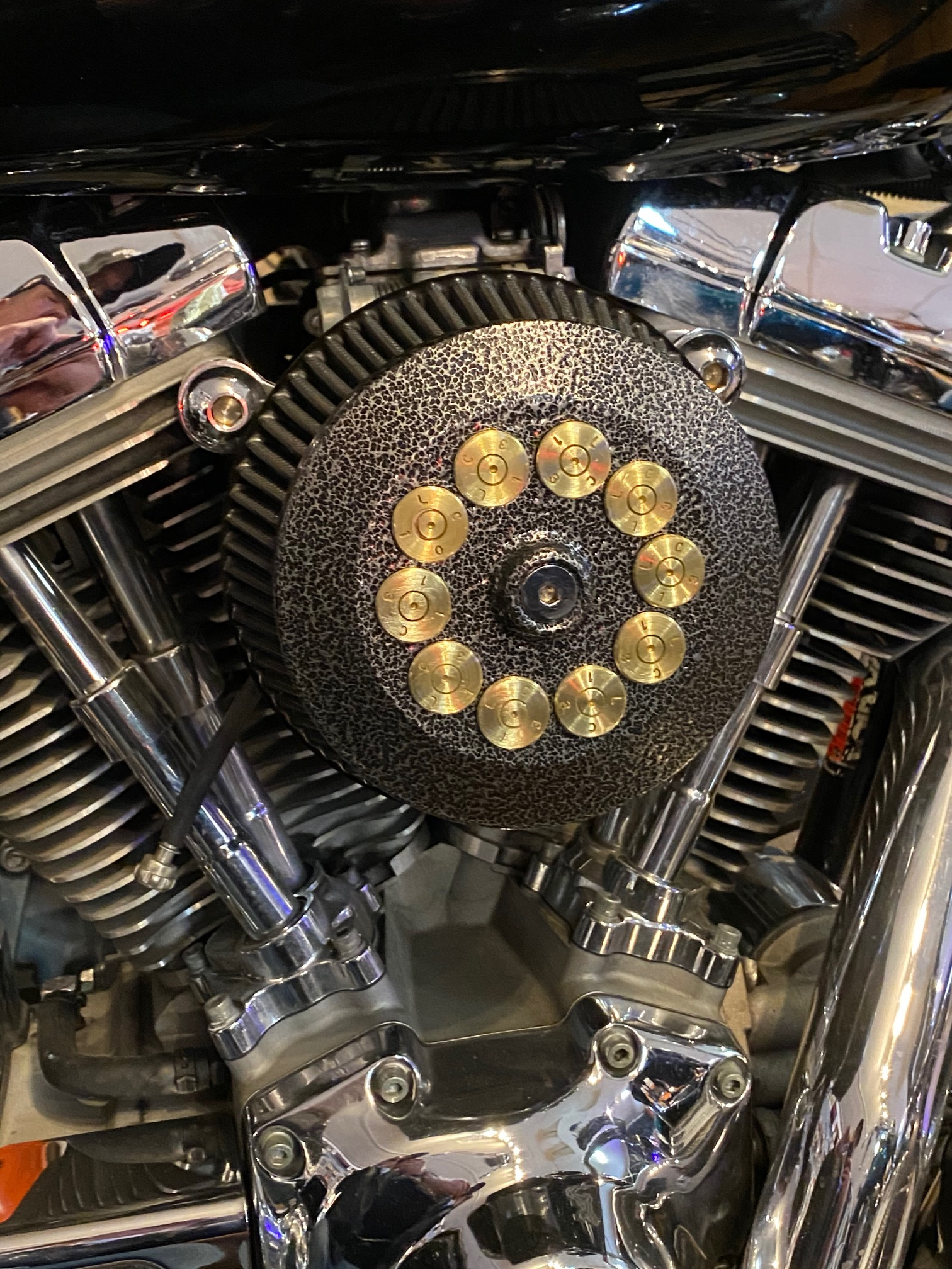 JT's Cycles Custom Air Cleaner Cover Powder Coated Silver Vein .50 Cal Harley JTAIRSV50