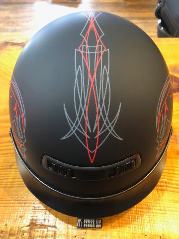 Z1R Flat Black Evilocity Nomad Skull Unisex Motorcycle Riding DOT Half Helmet