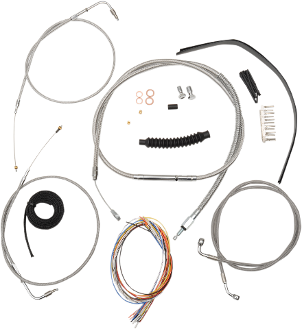 "La Choppers Braided 15""-17"" Complete Handlebar Cable Kit Non ABS 07-10 Softail"