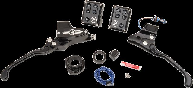 "PM Black Mechanical 9/16"" Handlebar Control Kit for 11-18 Harley Softail XL FXS"