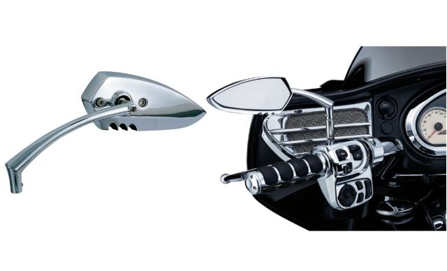 Kuryakyn 1448 Chrome Scythe II Flat Pair Motorcycle Handlebar Mirrors for Harley