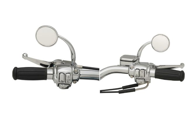 Russ Wernimont Convex Chrome Curved Round Screw in Handlebar Mirrors