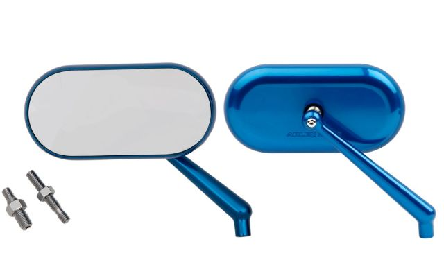 Arlen Ness Gloss Blue Oval Convex Side View Screw in Handlebar Mirror Set