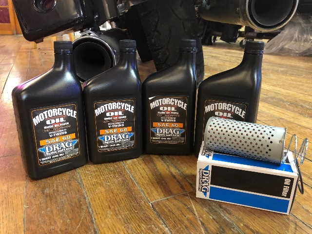 Drag Specialties 4qt SAE 60 Oil & Drop In Filter for 65-82 Harley Touring FL FX