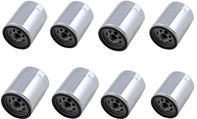 Drag Specialties 8 Pack Chrome Oil Filters 17-20 Harley M8 Touring Softail FLHX