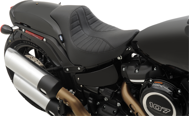 Drag Specialties Black Textile Vinyl EZ Mount Solo Seat for 18-19 Harley FXFB