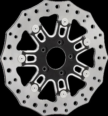 Arlen Ness Single Black Front 7 Valve Brake Rotor 06-17 Harley Touring Softail