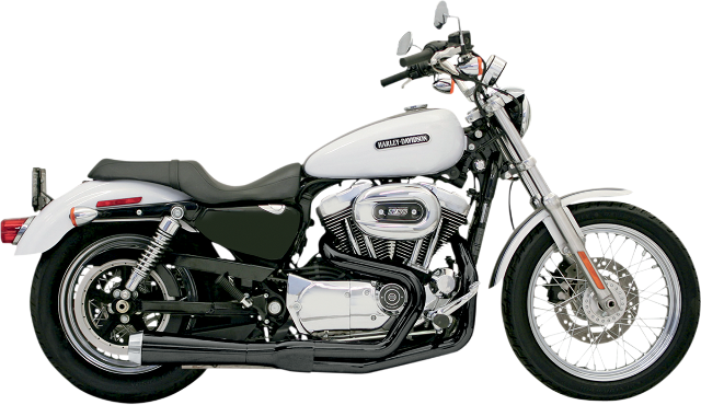 Bassani Black 2-1 Road Rage Megaphone Exhaust for 86-03 Harley Sportster XLH